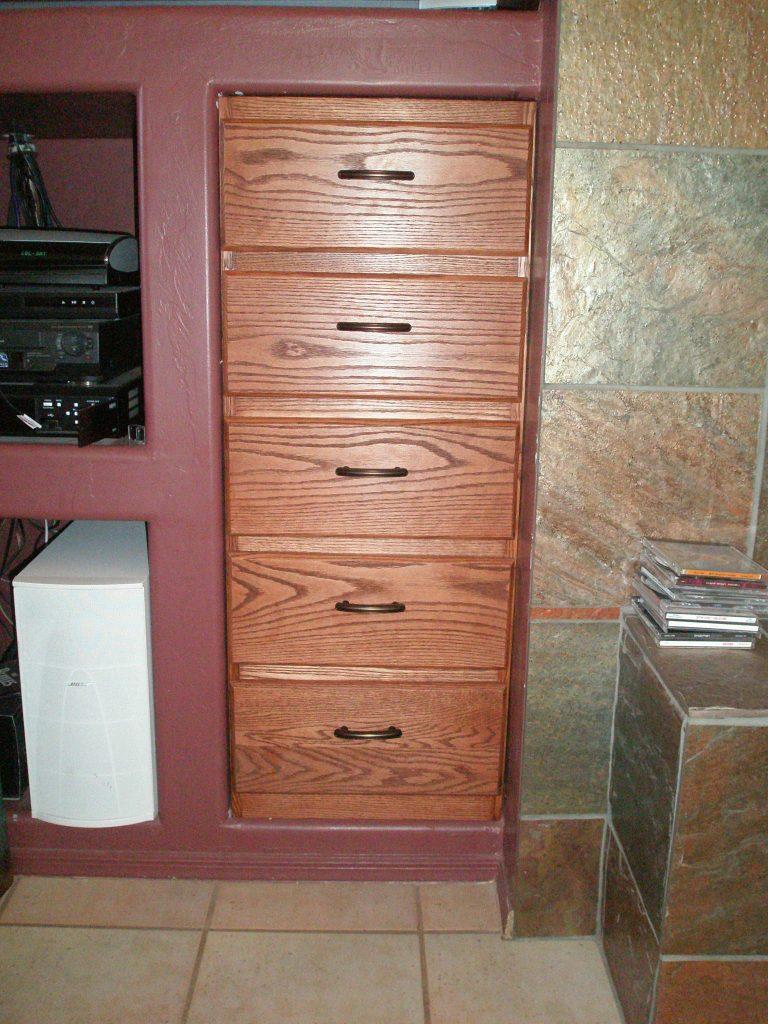 Oak built in drawers