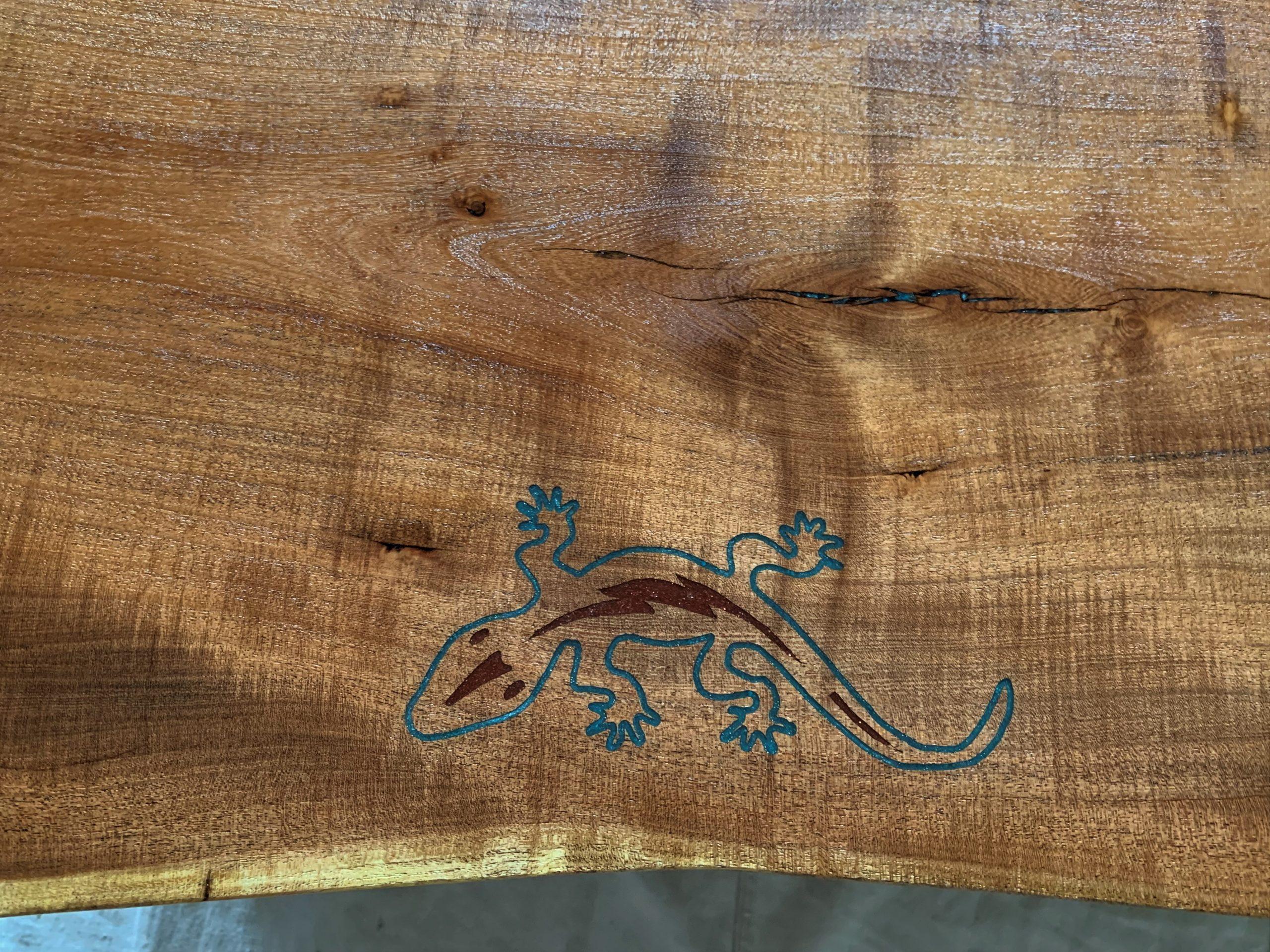 Mesquite Slab Coffee Table - epoxy inlay