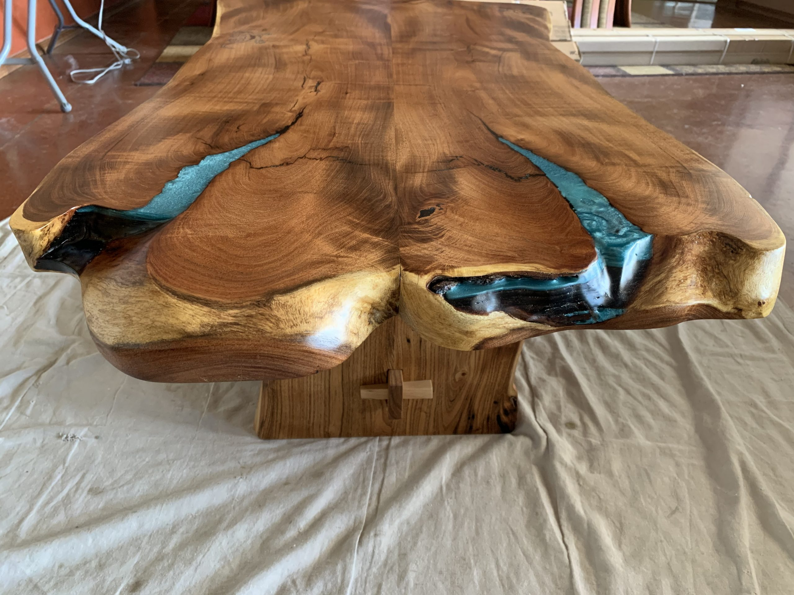 Mesquite Slab Coffee Table - End with some colored epoxy work